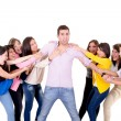 Eight Girls fighting over a guy — Stock Photo