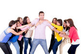 Eight Girls fighting over a guy — Stockfoto