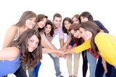 Group of happy , joining hands — Stock Photo
