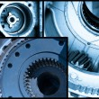 Ball bearings, pinion-gears set blue toning idea — Stock Photo