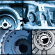 Stock Photo: Ball bearings, pinion-gears set blue toning idea