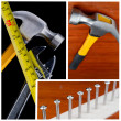 Carpentry, construction hardware tools collage. — Stock Photo