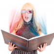 smiling woman reading a book with 3d glasses concept — Stock Photo