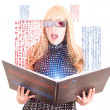 Smiling woman reading a book with 3d glasses asian  concept — Stock Photo