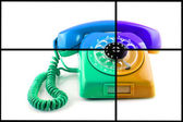 Old telephone. Collage — Stock Photo