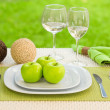 Diet concept. a plate served with apples — Foto de Stock