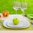 Diet concept. a plate served with one apple — Foto de Stock
