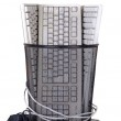 Full trash of used computer keyboards and cables — Stock Photo #28962993