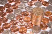 Pile of one cent coins — Stock Photo