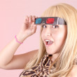 Portrait of a young, blonde woman, smiling with 3d glasses — Stock Photo