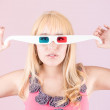 Portrait of a young, blonde woman, with 3d glasses — Stock Photo