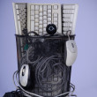 Full trash of used computer keyboards and cables — Stock Photo