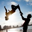 Unidentified Children practicing Parkour — Stock Photo