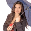 Sexy elegant young hispanic woman posing with umbrella — Stock Photo