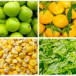 Food colage series. Collage of fresh fruit and vegetables — Foto Stock
