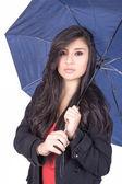 Sexy elegant young hispanic woman posing with umbrella — Stock Photo