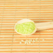 Closeup of a green bath salt — Stock Photo