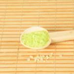 Closeup of a green bath salt — Stock Photo