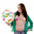 Bathing suit beach ball woman — Stock Photo #30522479