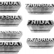 Days of the week formed with metallic letters — Stock Photo