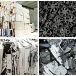 Recycle plant ewaste collage — Stock Photo
