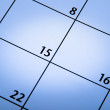 Stock Photo: Close up blue toned calendar page