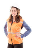 A woman wearing protective equipment — Stock Photo