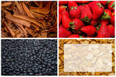 Summer fruits and vegetables, colorful four way collage — Stock Photo