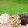 Decorative wicker wooden balls — Stock Photo