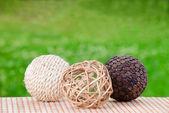 Decorative wicker wooden balls — Stock Photo