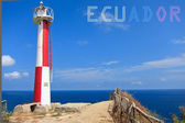 Lighthouse with banner of Ecuador — Stock Photo