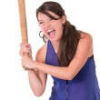 Pretty lady with a baseball bat, isolated on white background — Stock Photo