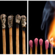 Set of whole and burnt matches at different stages — Stock Photo
