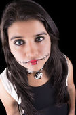 Young woman in day of the dead mask skull face art. — Stockfoto