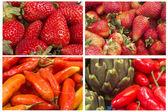 Fresh red fruits, closeup set — Stock Photo
