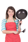 Beautiful woman with frying pan isolated on white background — Stock Photo