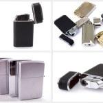 Silver metal zippo lighter set — Stock Photo #33915681