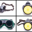 Protective workwear glasses and dust mask — Stock Photo