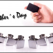 Hand Holding a Lighter fathers day set — Stock Photo