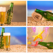 Stock Photo: Photo of chilled beer and bottle
