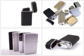 Silver metal zippo lighter set — Stock Photo