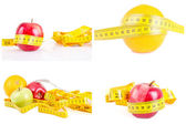Measuring tape wrapped and fruit as a symbol of diet. — Foto de Stock