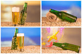 Photo of chilled beer and a bottle — Stock Photo