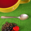 Traditional Ecuatorian dish, colada morada on wood background — Stock Photo