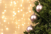 Christmas tree decoration with ball lights — Stock Photo