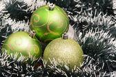 Green Christmas-tree decorations. Selective focus. — Stock Photo