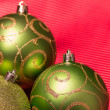 Green Christmas-tree decorations. Selective focus. — Stockfoto