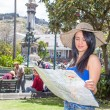 Young woman tourist in historic old town Quito Ecuador — Stock Photo #34920403