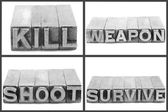 War set signs, kill, weapon, shoot, survive — Stock Photo
