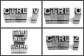 Metallic letters , delete copy and paste — Stockfoto